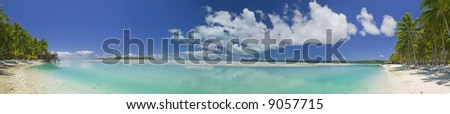 Tropical Dream Beach Paradise Panoramic of the South Pacific - stock photo
