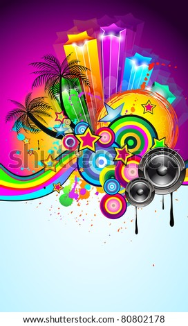 Tropical Event Disco Flyer for Music Poster, Night Parites or Latin live concert wallpapers. - stock photo