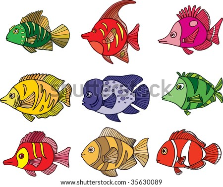 Tropical fish collection - color illustration. - stock photo
