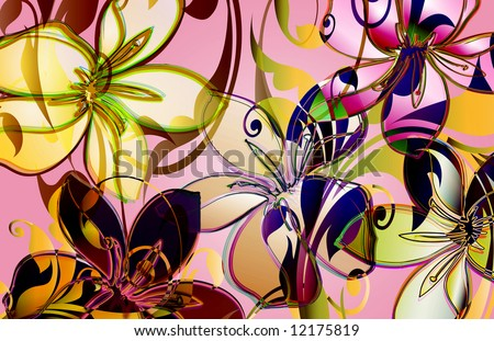 tropical floral design with layered viney scrolls and translucent elements. - stock photo