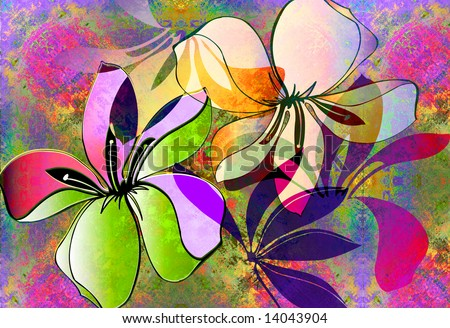tropical floral layout with nein spray paint texture - stock photo