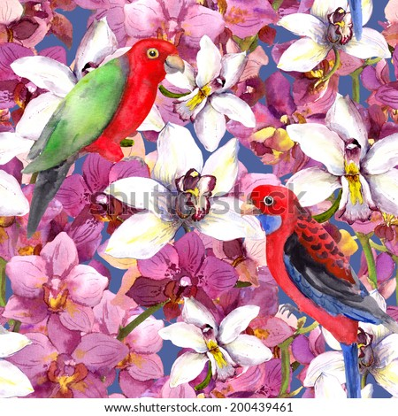 Tropical floral pattern - bright parrot bird, orchid flowers. Seamless background. Watercolour.  - stock photo