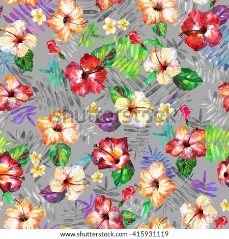 Tropical floral pattern watercolor background. Exotic flowers hibiscus on a leaves backdrop.