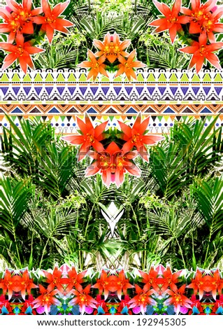 Tropical floral print in green and orange colors. - stock photo