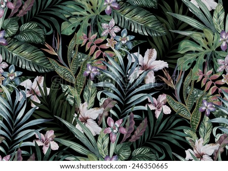 tropical floral print. variety of jungle and island flowers in bouquets in a dark exotic print. allover design, realistic vintage watercolor illustration. - stock photo