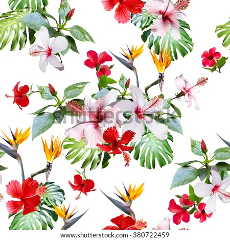 Tropical floral prints. CLIP ART - photo collage. Gorgeous realistic tropical flowers seamless pattern. - stock photo