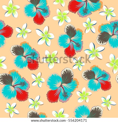 Tropical floral with multicolor hibiscus flowers, buds and leaves. Floral on a beige background.