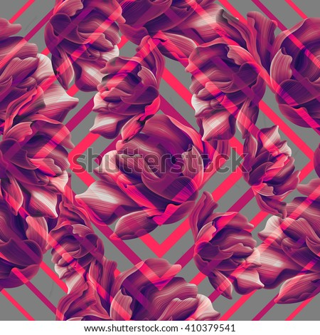 Tropical flower geometry, botanical symmetry background, plant pattern on black. Hawaiian, californian, florida summer style.