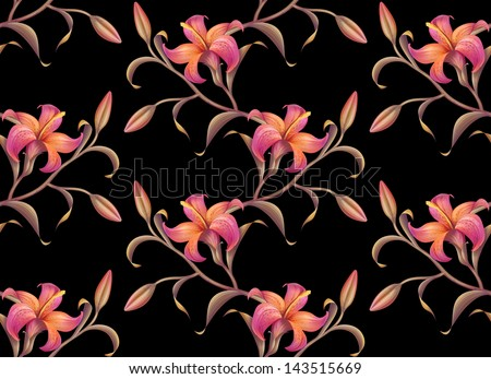 tropical flower pattern background isolated on black - stock photo