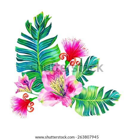 """tropical flowers. a large happy floral bouquet with alstroemeria, banana leaf, and """"brush"""" tree flower. isolated on white.  - stock photo"""