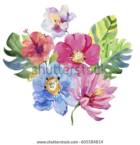 Tropical Flowers Leaves Watercolor Painting Stock Illustration