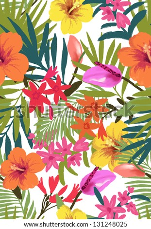 tropical flowers for high summer theme,seamless flowers pattern for fashion design - stock photo
