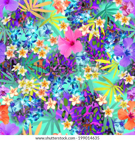 tropical flowers with animal spots ~ seamless background tile - stock photo
