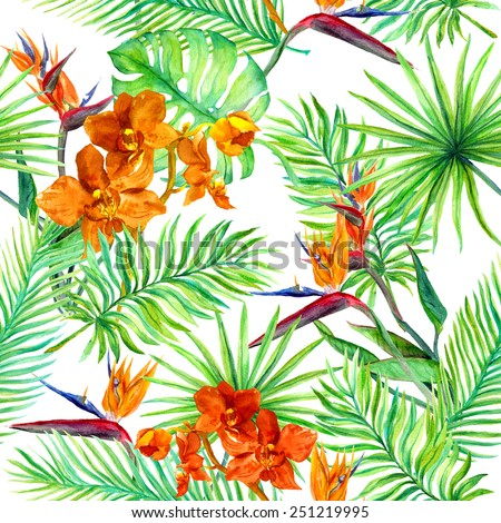 Tropical forest leaves and exotic flowers -  wild orchid and bird flower. Seamless pattern. Watercolor - stock photo