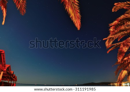tropical frame by the sea on a starry night - stock photo