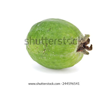 Tropical fruit feijoa (Acca sellowiana) on a white background - stock photo