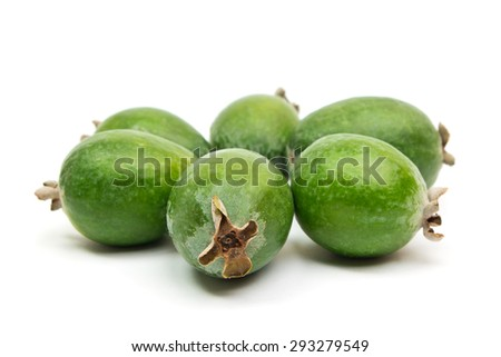 Tropical fruit feijoa laid out in a circle (Acca sellowiana) isolated on white background