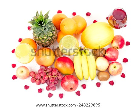 tropical fruits and juices isolated on white background - stock photo