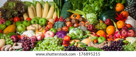 Tropical fruits and Vegetables - stock photo