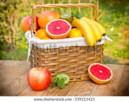 Tropical fruits - exotic fruits - stock photo