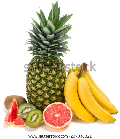 Tropical fruits isolated on white  background - stock photo