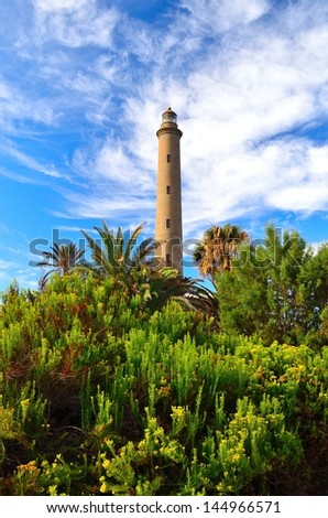 Tropical garden with lush green vegetation, palm trees and bushes in foreground and marine lighthouse and blue sky with clouds in background, Maspalomas, Gran canaria - stock photo