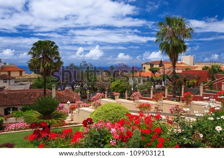 Tropical gardens in La Orotava town, Tenerife, Canary Islands, Spain - stock photo