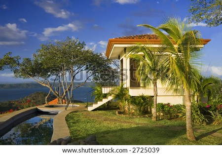 Tropical getaway with a commanding view of the ocean - Playa Hermosa, Costa Rica - stock photo
