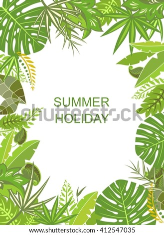 Tropical green vertical poster - stock photo