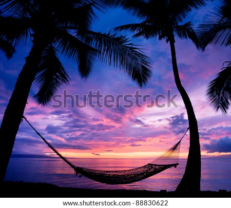 Tropical Hammock in Paradise at Sunset - stock photo