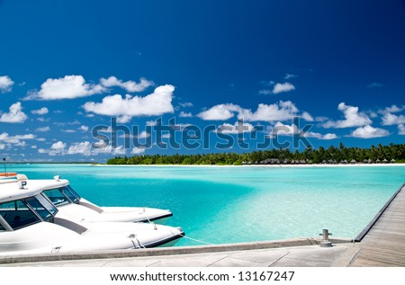 Tropical harbour on an maldivian island - stock photo