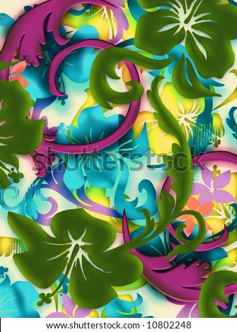 Tropical hawaiian floral batik design with soft illuminating colors and shading. - stock photo