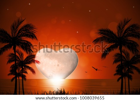 tropical heart shape moon rise valentine holiday background