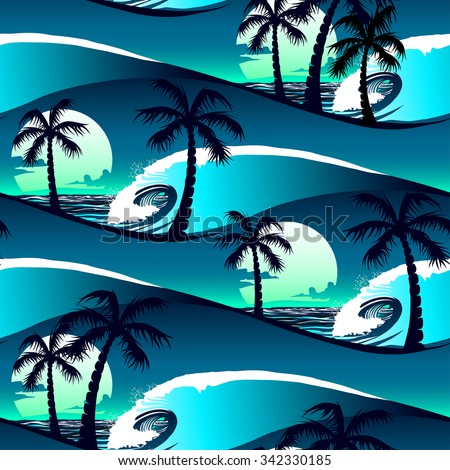 Tropical hibiscus and palm trees at sunset seamless pattern . - stock photo