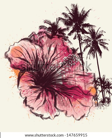 Tropical Hibiscus Illustration - stock photo