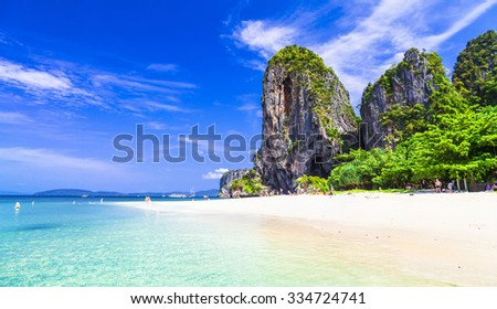 tropical holidays - amazing beaches of Thailnad, Krabi - stock photo