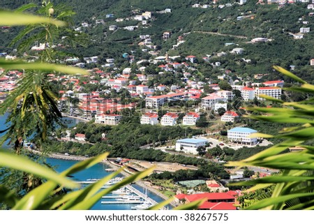 Tropical houses on hill overlooking harbor. St Thomas US Virgin Islands - stock photo