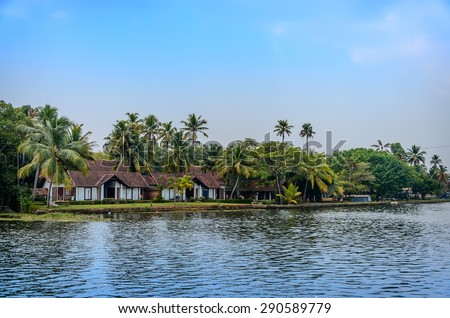 Tropical Indian village with coconut palm trees Kerala, India - stock photo