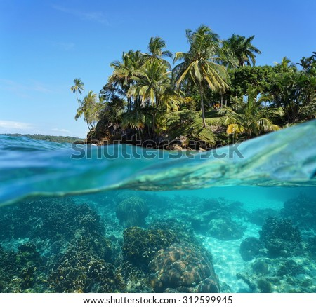 Tropical island and corals underwater split by waterline, Caribbean sea - stock photo
