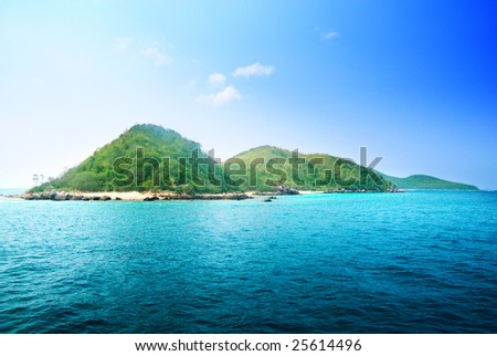 tropical island and ocean - stock photo
