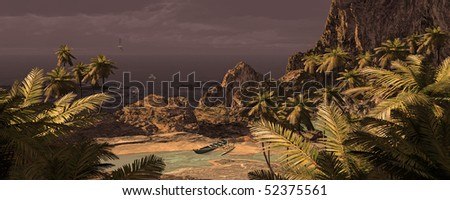 Tropical Island And Outrigger Canoe - stock photo