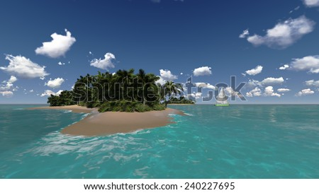 tropical island and yacht in sea - stock photo