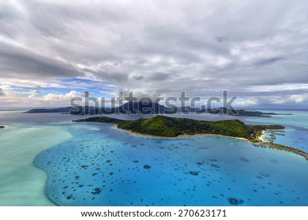 Tropical island at Bora bora - aerial view