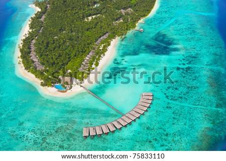Tropical island at Maldives - aerial view - stock photo
