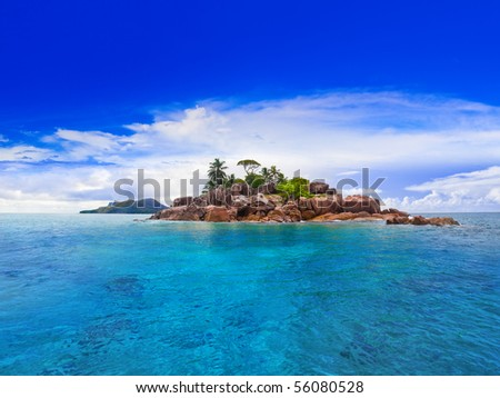 Tropical island at Seychelles - nature background - stock photo