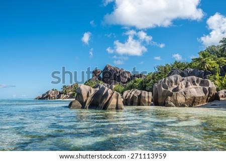 Tropical island beach, Source d�¢??argent, La Digue, Seychelles - stock photo