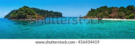 Tropical island in southern Thailand, panoramic view - stock photo
