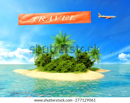 tropical island in the ocean and plane with inscription travel - stock photo