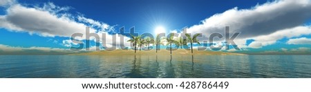 tropical island in the ocean, panorama sea sunset, 3D rendering - stock photo