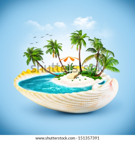 tropical island in the seashell. Traveling, vacation - stock photo
